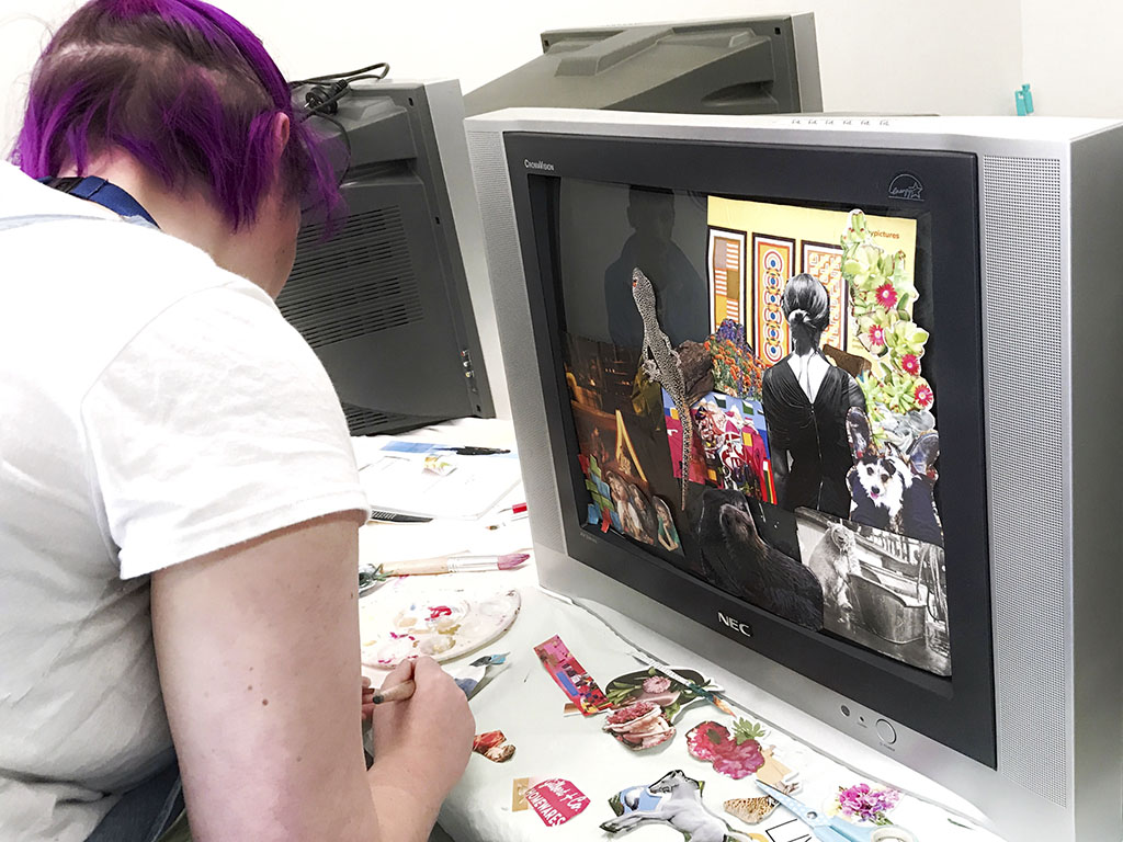 CLC Student uses an old TV to create a piece of art.